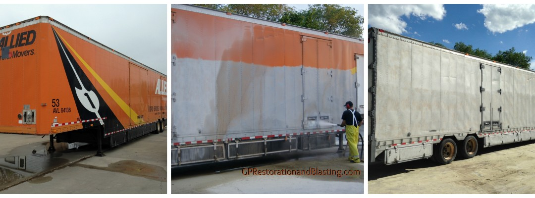 Blasting and completing surface preparation on large trailers and trucks in Lincoln Nebraska